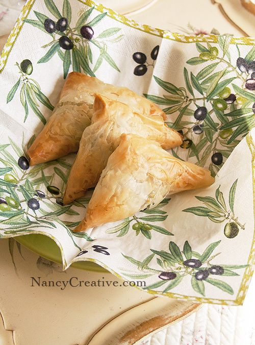 Spanakopita (crisp spinach and feta phyllo pies)