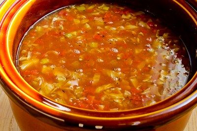 Slow Cooker Recipe for Cabbage Soup with Tomatoes, Chicken-Garlic ...