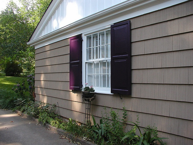 I dark purple shutters exterior paint ideas pinterest - Purple exterior paint image ...