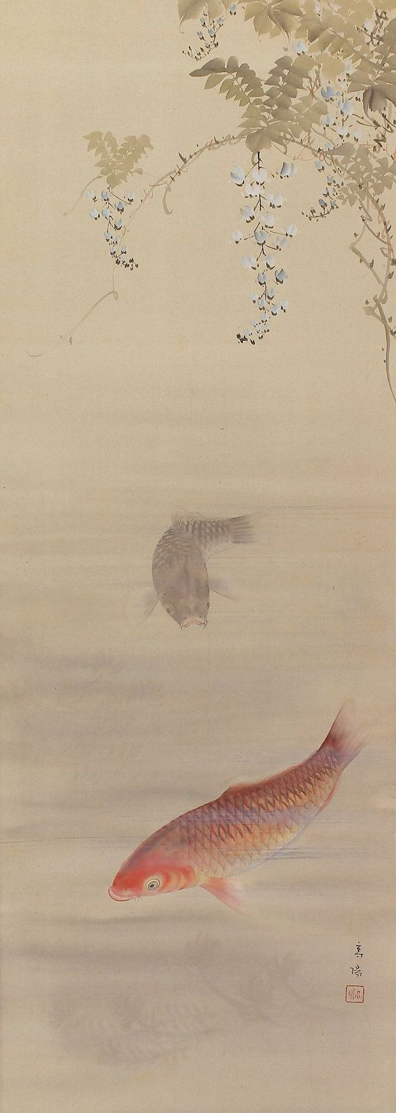 Antique japanese art painting a pair of carp koi fish for Japanese koi carp paintings