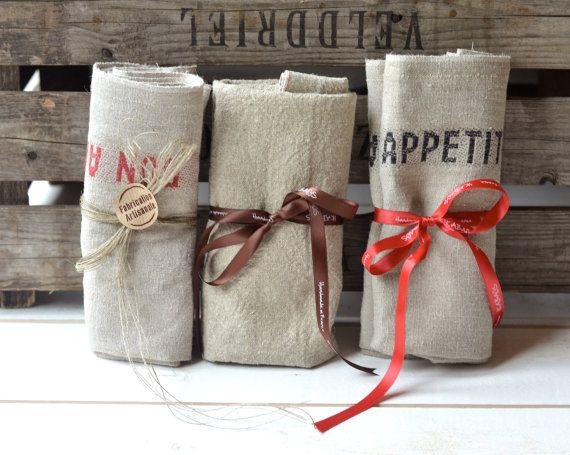 BON APPETIT  French country 3 Linen Towels / shabby chic wedding gifts from Paris