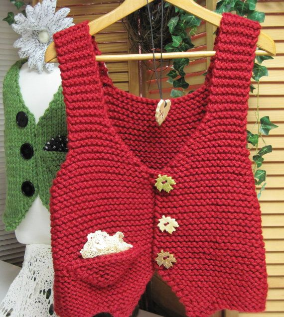 Knitting Pattern Vest Bulky Yarn : Adults Pocket Points Vest Bulky Yarn Knitting Pattern ...