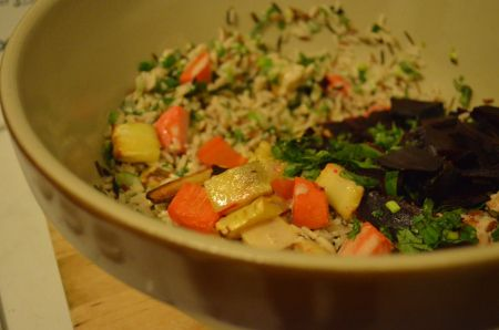 Rice salad with roasted veggies and lemon-tahini dressing