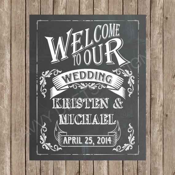 Custom wedding welcome chalkboard printable sign for Printable chalkboard signs