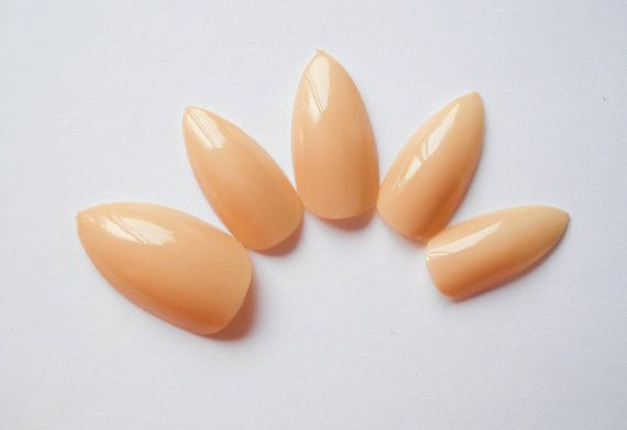 Nude Stiletto Nails, Nude Fake Nails, Natural Nail, Natural Stiletto Nails, Press on Stiletto, Glue on Nails, False Nails, Acrylic Nails