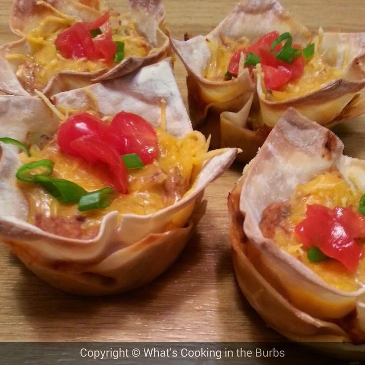 Salsa Cream Cheese Chicken Taco Cups | Chicken yum-yum | Pinterest