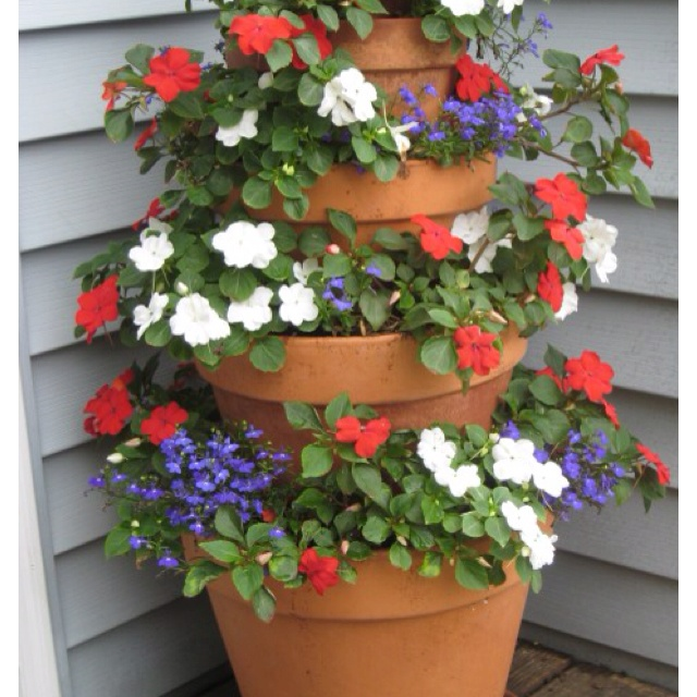Stacked Flower Pots Cute Floral Pinterest