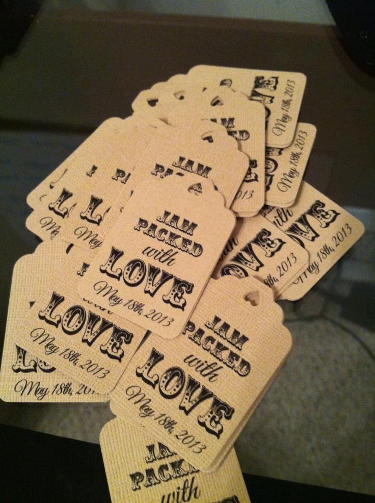 Diy Wedding Favor Tags : Tags for my strawberry jam wedding shower favors!! DIY