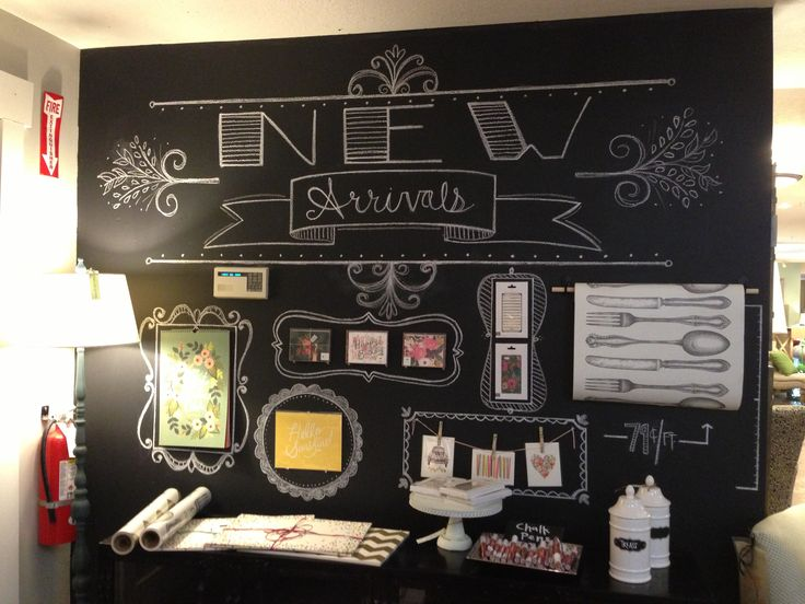 Chalkboard wall at Down to Earth (Gardner Village)
