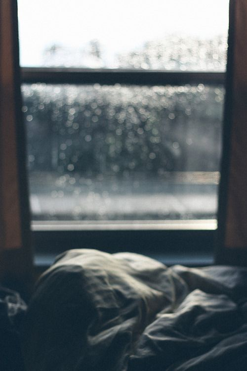 "HOW UTTERLY NEAT TO BE IN YOUR NICE WARM BED, ALL SNUGGLY, WATCHING OUT THE WINDOW AT THE RAIN---AND, YOU KNOW WHAT??.....MOM SAID WE DIDN'T HAVE TO GO TO SCHOOL IN THIS ""FOUL WEATHER"".......LUV YA MOM......LUV YA......ccp"