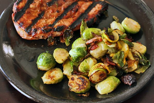 Grill Roasted Brussels Sprouts with Yellow Squash and Bacon