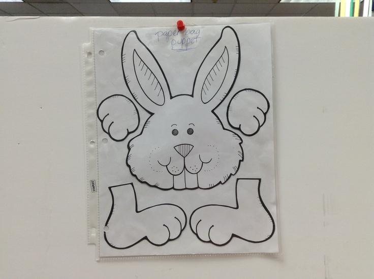 bunny paper bag puppet template work pinterest With paper bag bunny template