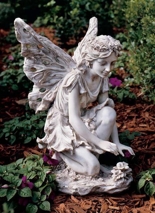 Flower fairy statue for the garden angels pinterest - Garden fairy statues ...