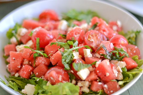 Tomato Watermelon Salad with Feta   Recipes   Pinterest