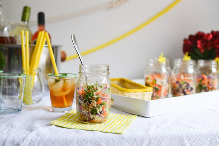 Wow your guests with this easy Baby Shower Lunch Idea – Cabbage Salad from Sharon @cupcakescutlery ! Serve in cute 8-oz jars for appeal!