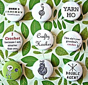 Crochet Pinback Buttons (9 Pack) from Lion Brand Yarn