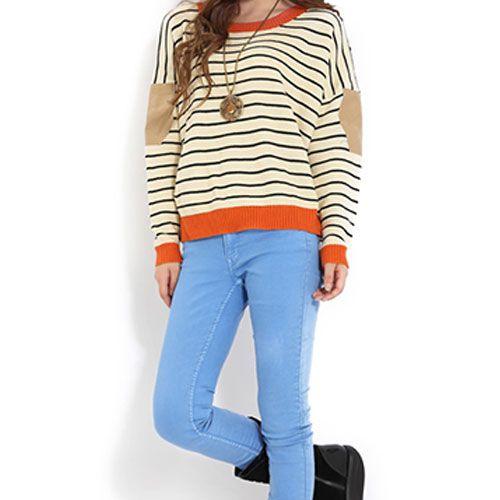 Grxjy560531 chic fresh stripe print patch women s knit sweater