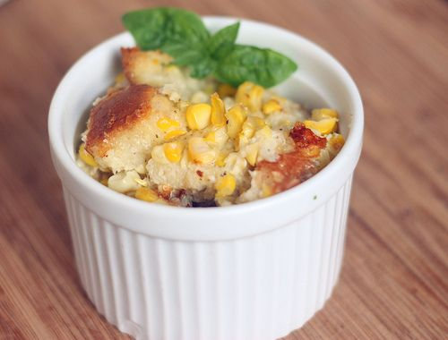 Fresh corn and asiago cheese bread pudding. Fabulous! I added some ...