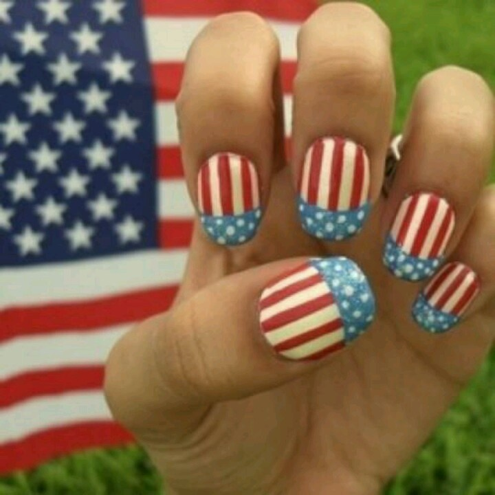 Red white and blue for 4th of july nail art decoration flag