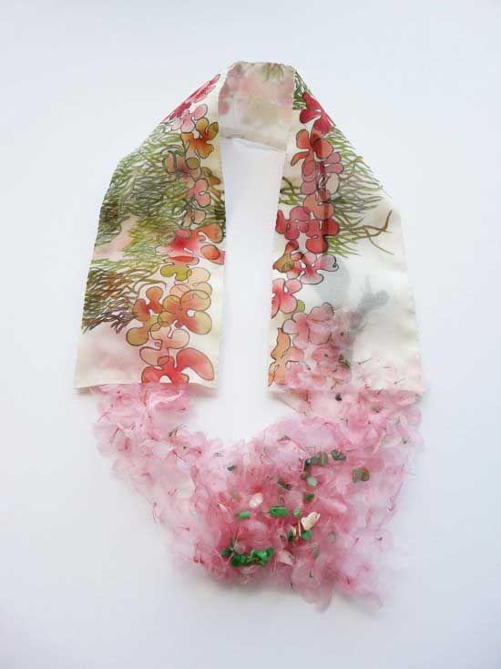Hsiu Hsuan Huang - Tracing Memory c, 2008, (ink on silk sheet, printing, fabric, jade)