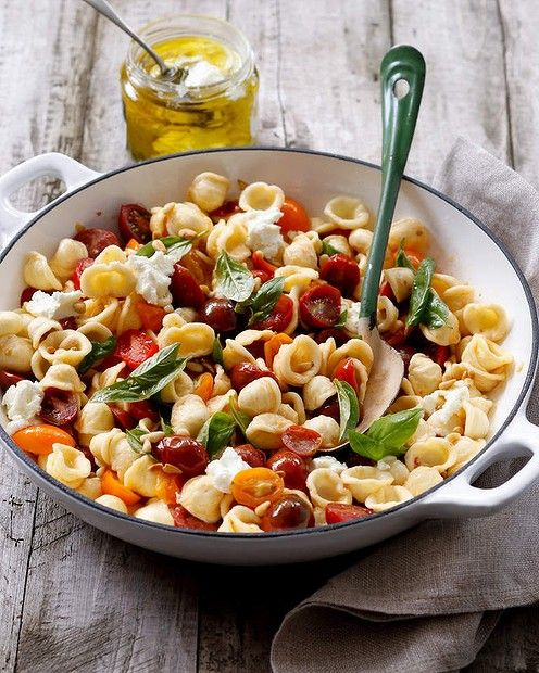 Rough and ready: Orecchiette with cherry tomatoes, basil and pine nuts ...