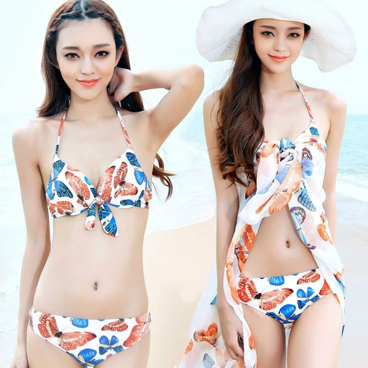 Bikinis swimsuit Female small breasts together bathing ...