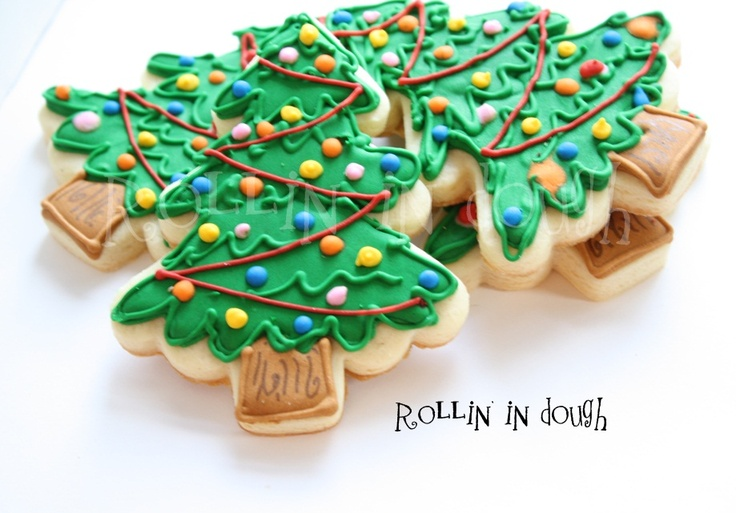 Christmas tree cookies cookie decorating christmas pinterest