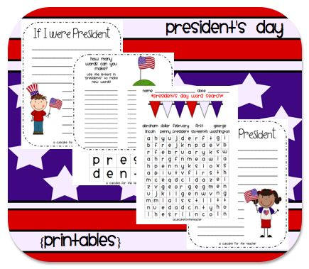 president's day printable freebies. I love the making words with cut out letters.