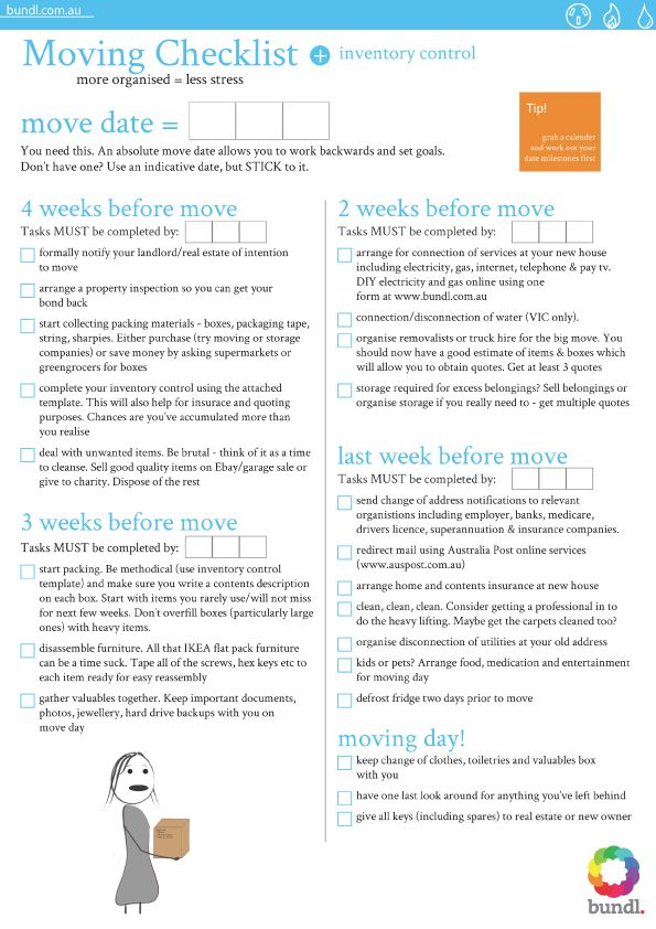 Moving house checklist for the home pinterest for Moving to a new home checklist