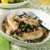 Chicken Tenders With Swiss Chard and Israeli Couscous. Couscous will ...