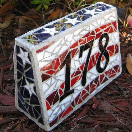 Patriotic house number block! Need this ASAP. ;)