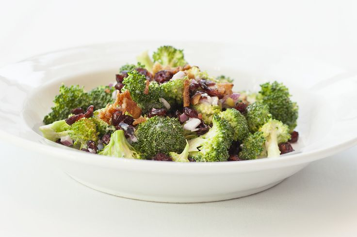 Broccoli Salad: dried cranberries, red onions, and toasted pecans, in a creamy sweet red wine vinaigrette