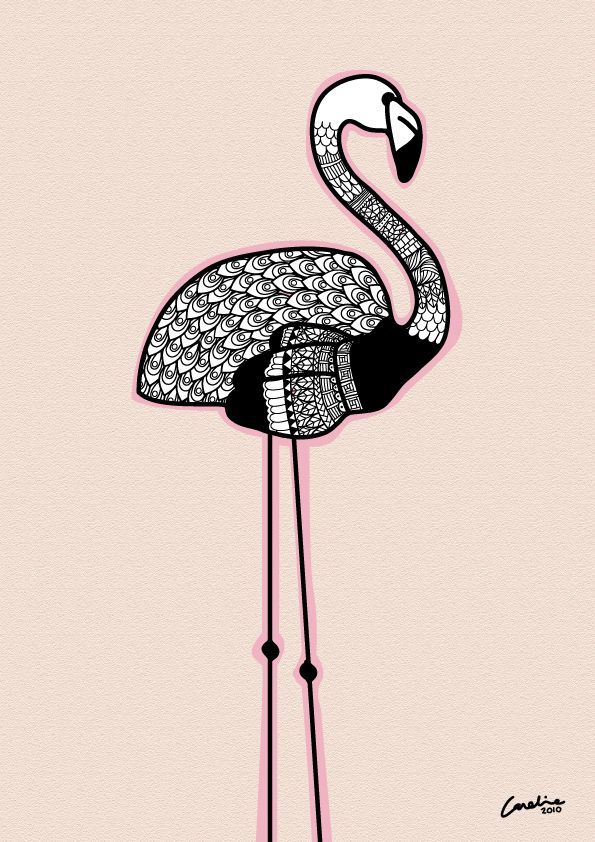 flamingo_illustration_artist_art_drawing_pink_line_black_white_caroline_johansson