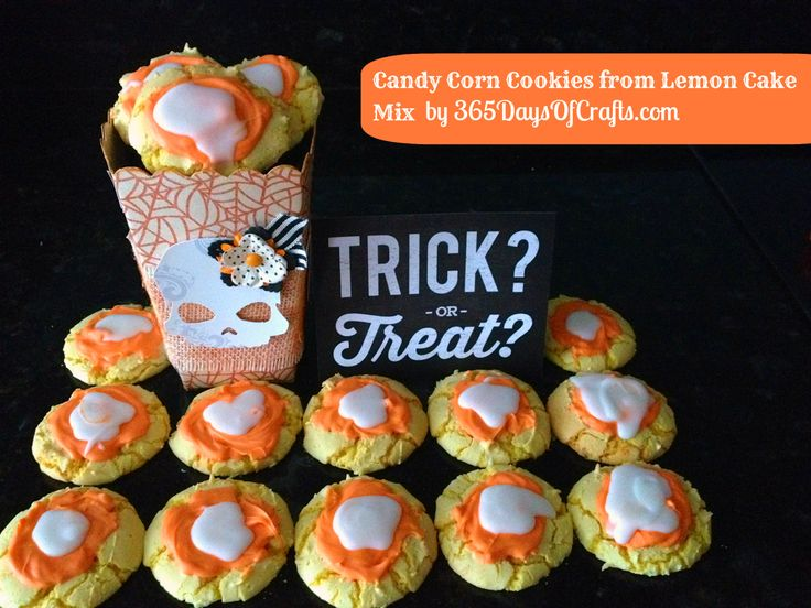 Candy Corn Cookies from a Lemon Cake mix and a cute Halloween Treat ...