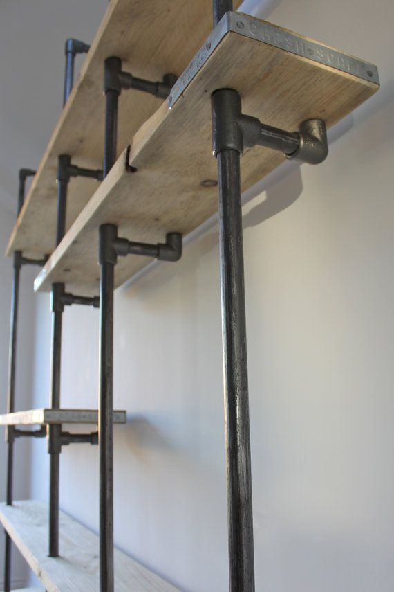 Scaffolding Boards and Dark Steel Pipe Wall by inspiritdeco - https://www.inspiritdeco.com