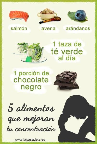 Cinco alimentos que mejoran tu concentración. #salud # concentracion #estudio