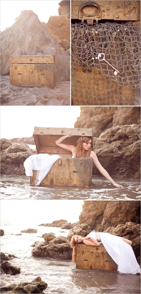 beachy bridal session - if i loved the beach, i would TOTALLY do this! reminds me of Little Mermaid.  <3