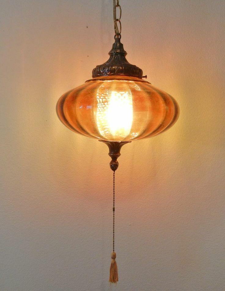 Vintage Mid Century Modern Amber Ufo Glass Swag Lamp Retro