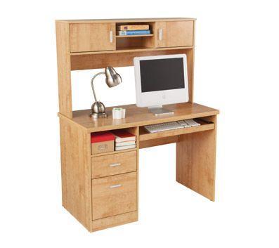 OfficeMax Illustra Desk with Hutch, Oak | Home | Pinterest
