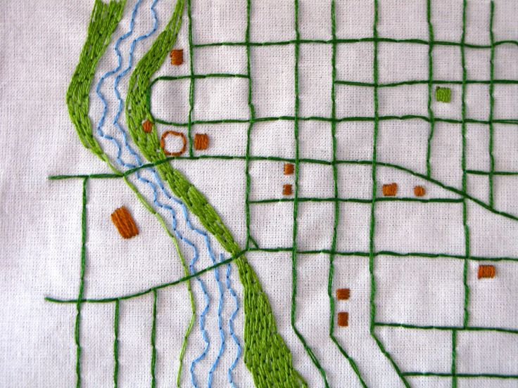 Your Hometown Custom Embroidered Map by NeedleandCompass on Etsy