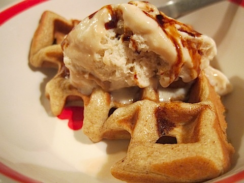 Pumpkin Waffles with Butter Pecan and Fig Syrup