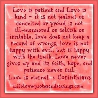 Quotes About Love 1 Corinthians : Love is.....bible quote, Corinthians Quotes Pinterest