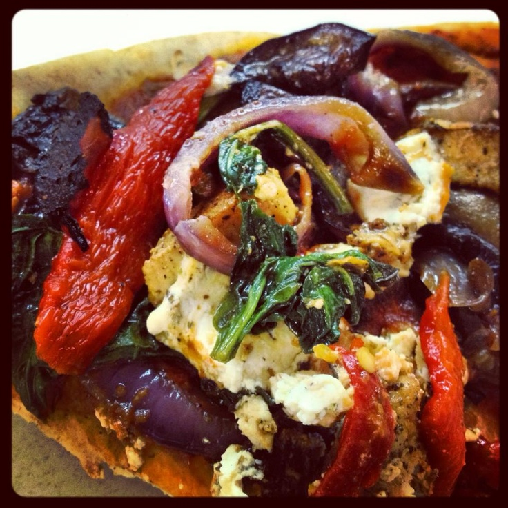 ... red onions, roasted red peppers with grilled chicken breast and goat