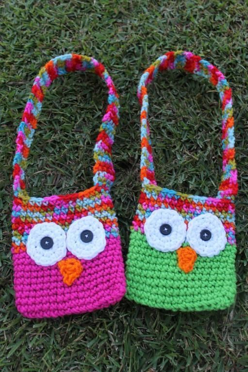 Crochet Bag For Kids : Kids Crochet Owl Bags with Strap My Crochet Projects Pinterest