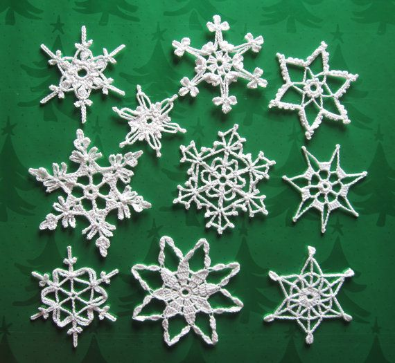 Crochet Snowflake : Crocheted Snowflakes Christmas Ornaments