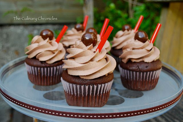 """Chocolate Malt"""" Cupcakes 