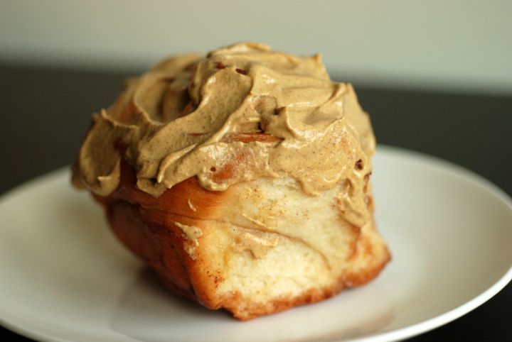 Pumpkin Pecan Butter Frosted cinnamon buns