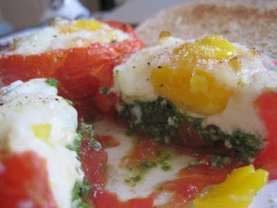 Egg and Pesto Stuffed Tomatoes | Adventures with My Oven | Pinterest