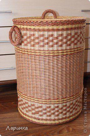 Плетение из газетных трубочек короба для белья - Плетение из газетных трубочек. Картонное дно. Советы