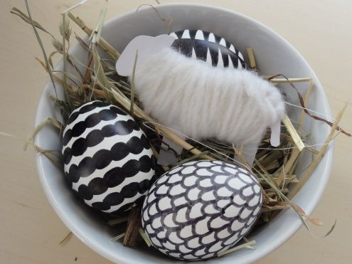 Graphic black and white patterned easter eggs.